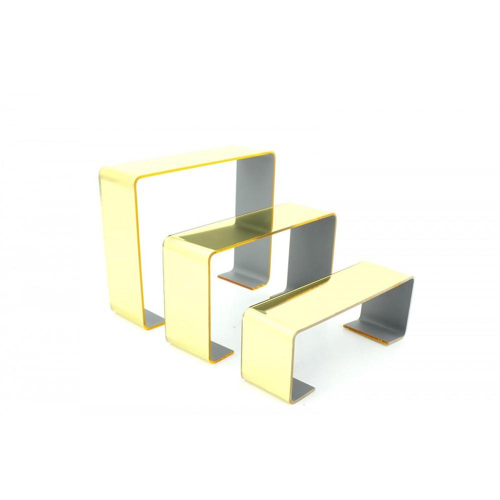 Üçlü Merdiven Ayakkabı Teşhir Standı Altın Ayna