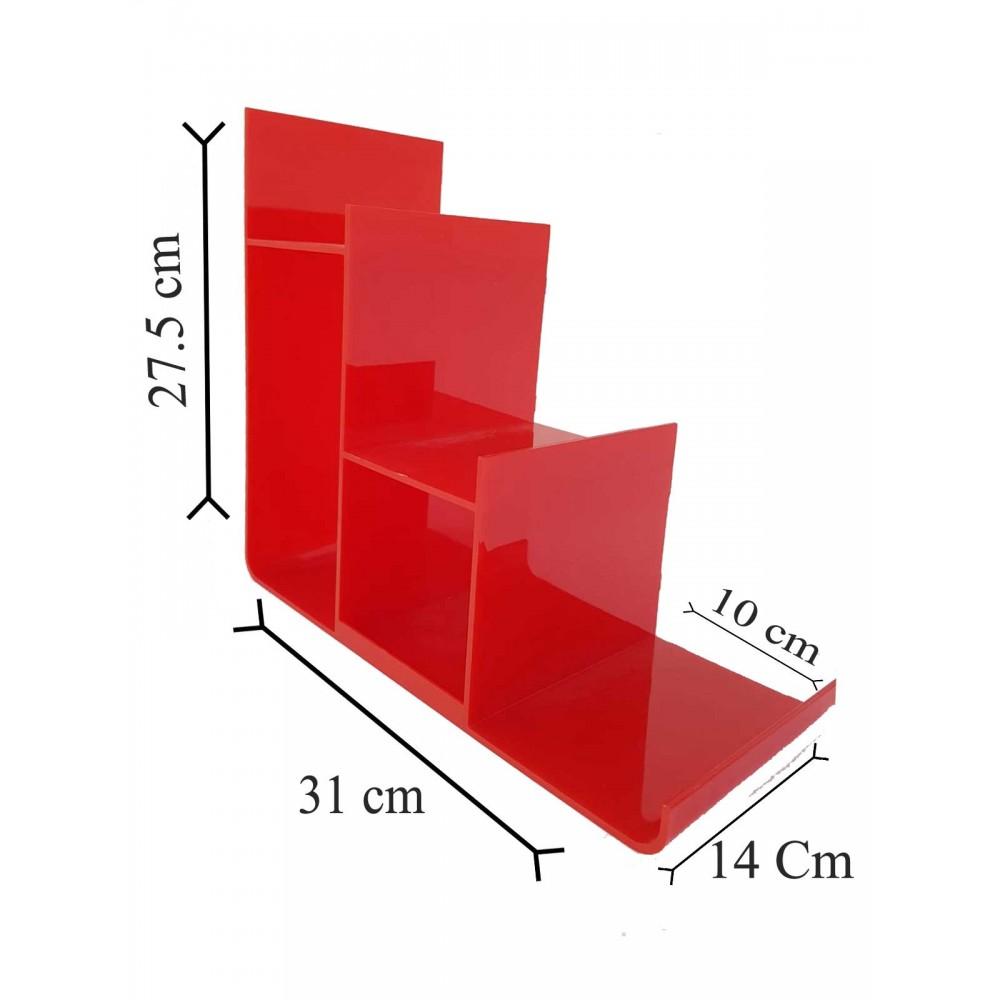 Çanta Cüzdan Teşhir Standı Plastik Üç Katlı Kırmızı