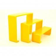 Üçlü Merdiven Ayakkabı Teşhir Standı Plastik Sarı